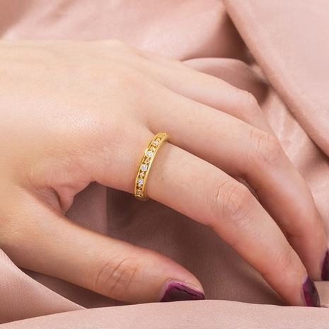 anillo de cobre dorado de circonita con micro incrustaciones simples al por mayor Nihaojewelry NHDB420843's discount tags