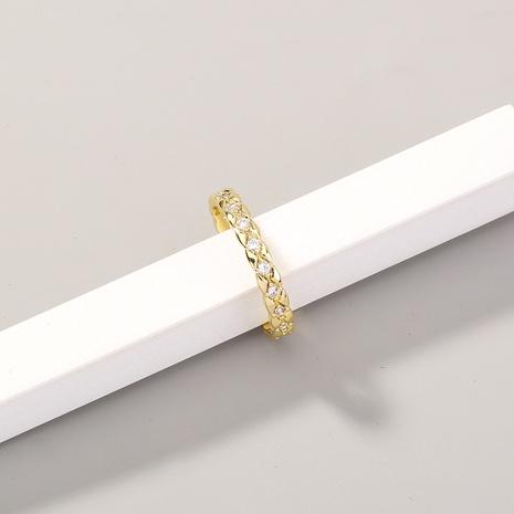 Moda geométrica tallada con incrustaciones de circón anillo de cobre ajustable al por mayor Nihaojewelry NHDB420845's discount tags