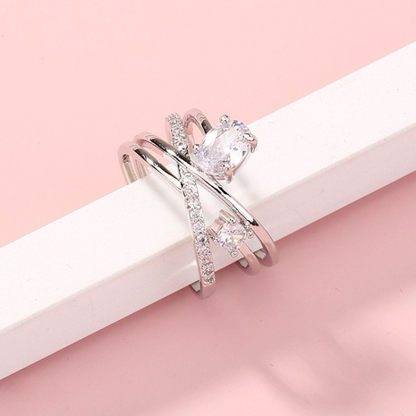 nueva moda cruz con incrustaciones de circón anillo de cobre ajustable al por mayor Nihaojewelry NHDB420847's discount tags