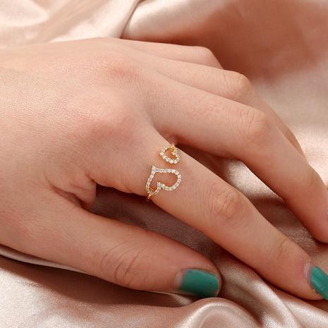 nuevo anillo de circón con micro incrustaciones de cobre de doble corazón al por mayor Nihaojewelry NHDB420851's discount tags