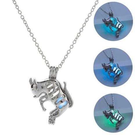 Halloween Goat Hollow Luminous Pendant Necklace wholesale jewelry Nihaojewelry NHDB420858's discount tags