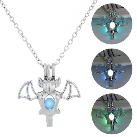 Halloween bat luminous pendant necklace wholesale jewelry Nihaojewelry NHDB420860's discount tags