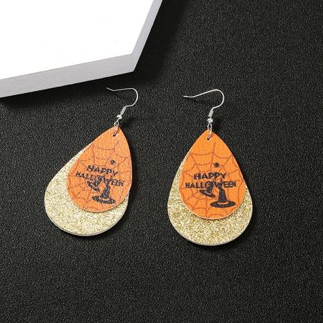 Halloween spider water drop leather earrings wholesale Nihaojewelry NHDB420898's discount tags