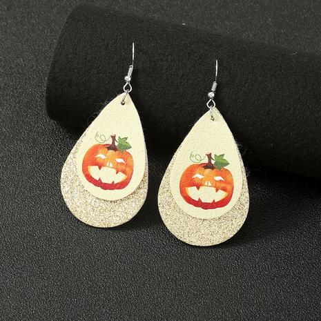 Halloween pumpkin leather earrings wholesale Nihaojewelry NHDB420899's discount tags