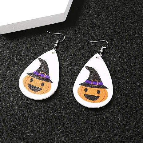 Halloween water drop pumpkin PU leather earrings wholesale Nihaojewelry NHDB420904's discount tags