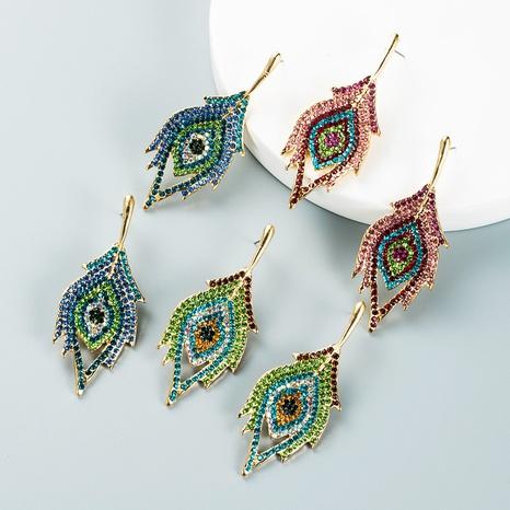 Fashion colored rhinestone leaf eye earrings wholesale Nihaojewelry NHLN421388's discount tags