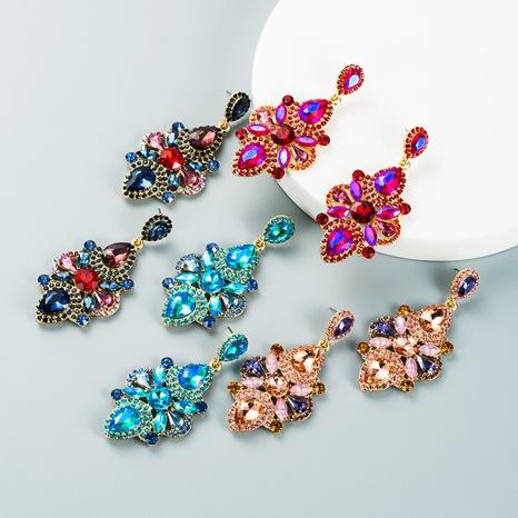 retro inlaid color rhinestone drop earrings wholesale Nihaojewelry NHLN421387's discount tags
