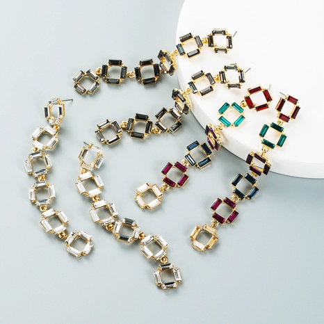 Fashion multi-layer splicing square long earrings wholesale Nihaojewelry NHLN421385's discount tags