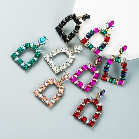 retro diamond-studded colored glass geometric earrings wholesale Nihaojewelry NHLN421377's discount tags