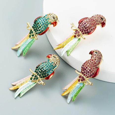 Korean rhinestone diamond-studded parakeet earrings wholesale Nihaojewelry NHLN421373's discount tags