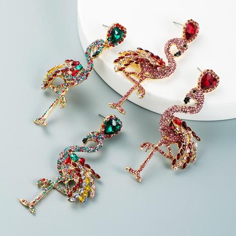 fashion alloy inlaid rhinestones flamingo earrings wholesale Nihaojewelry NHLN421372's discount tags