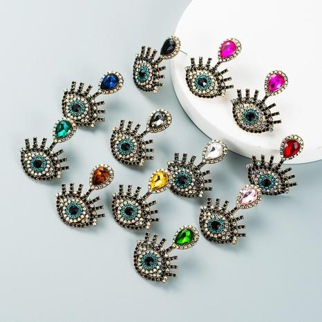 retro diamond-studded devil's eye earrings wholesale Nihaojewelry NHLN421370's discount tags