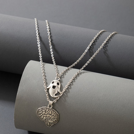 Halloween Cartoon Ghost Pendent Multilayer Necklace Wholesale Nihaojewelry  NHGY421366's discount tags