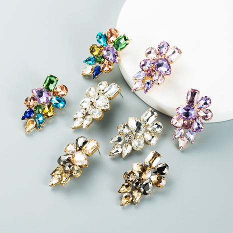 Fashion drop-shaped colored glass diamond earrings wholesale Nihaojewelry NHLN421365's discount tags