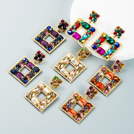 retro multi-layer square alloy diamond color geometric earrings wholesale Nihaojewelry NHLN421363's discount tags