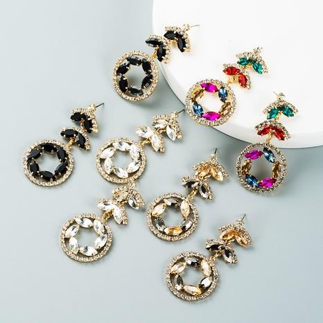 Fashion multi-layer alloy rhinestone color flower long earrings wholesale Nihaojewelry NHLN421357's discount tags