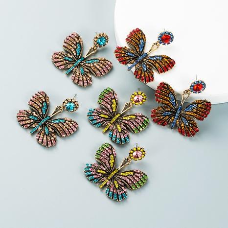retro alloy diamond rhinestone color butterfly earrings wholesale Nihaojewelry NHLN421353's discount tags