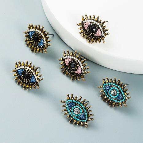 retro alloy color rhinestones Devil's eye earrings wholesale Nihaojewelry NHLN421273's discount tags