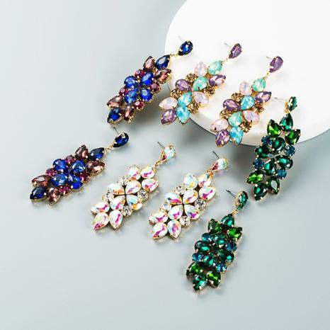 Retro full diamond color rhinestone glass diamond flower earrings wholesale Nihaojewelry NHLN421272's discount tags