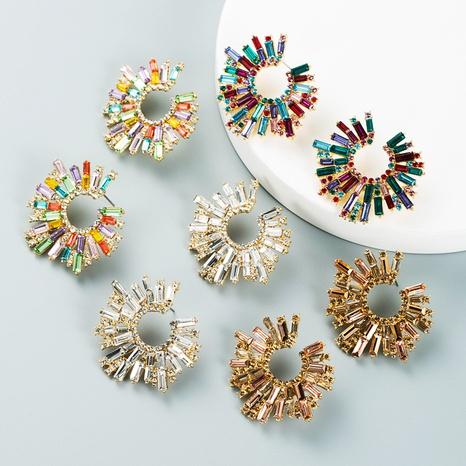 retro alloy rhinestone color sunflower earrings wholesale Nihaojewelry NHLN421268's discount tags