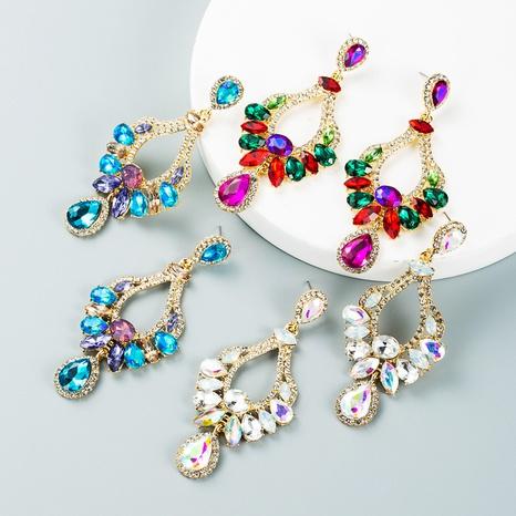 retro alloy inlaid colorful diamond geometric earrings wholesale Nihaojewelry NHLN421267's discount tags