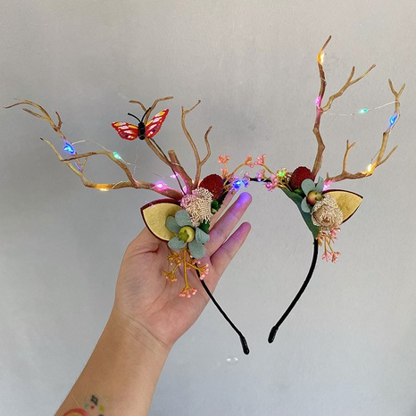 korean style Christmas antlers luminous light headband wholesale jewelry Nihaojewelry NHSM420056's discount tags