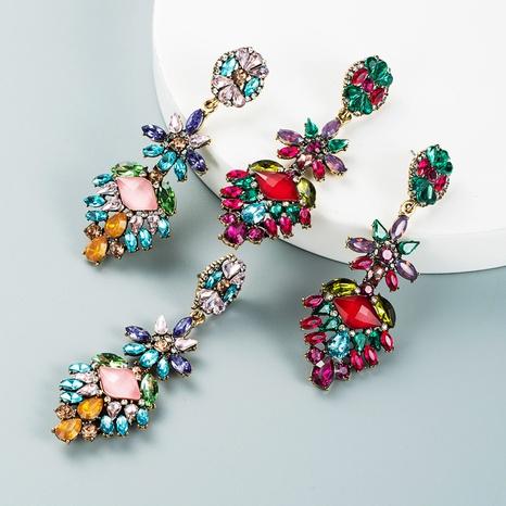 Fashion colored diamond multi-layer alloy rhinestone flower earrings wholesale Nihaojewelry NHLN421263's discount tags