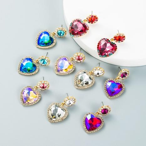 retro alloy studded rhinestone glass diamond heart-shaped earrings wholesale Nihaojewelry NHLN421259's discount tags