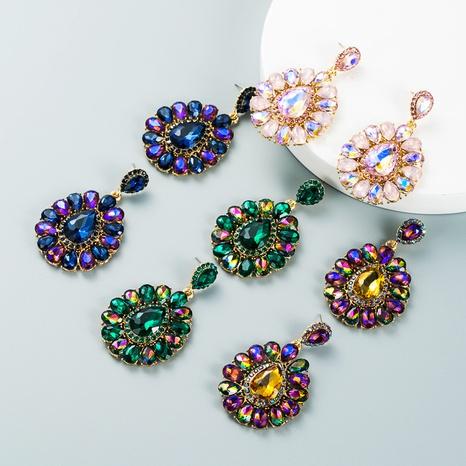 fashion diamond drop-shaped colored glass diamond earrings wholesale Nihaojewelry NHLN421256's discount tags