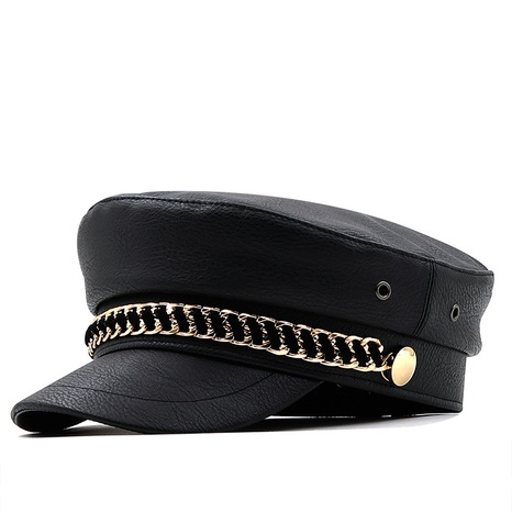 Korean chain leather black navy hat wholesale Nihaojewelry  NHXV420975's discount tags