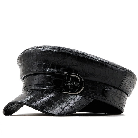 fashion crocodile pattern leather octagonal hat wholesale Nihaojewelry  NHXV420977's discount tags