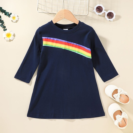 rainbow stripe stitching long-sleeved children's dress wholesale nihaojewelry  NHLF421029's discount tags