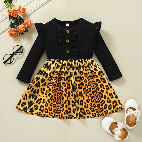 Fashion Striped Long Sleeve Leopard Print Stitching Children's Skirt Wholesale Nihaojewelry NHLF421034's discount tags