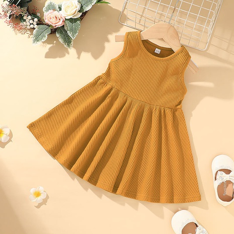 Simple Fashion Children's Solid Color Sleeveless Hanging Vest Skirt Wholesale Nihaojewelry NHLF421038's discount tags