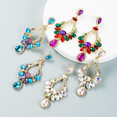 fashion vintage inlaid colorful rhinestone geometric earrings wholesale nihaojewelry NHLN421154's discount tags