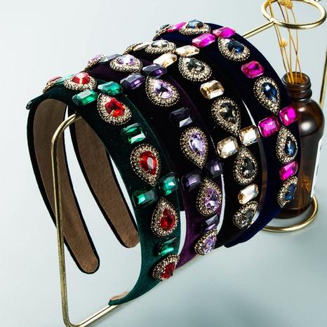Christmas glass diamond flower wide-brimmed velvet headband wholesale Nihaojewelry NHLN421162's discount tags