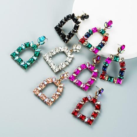 multi-layer colored glass diamond pendant earrings wholesale nihaojewelry  NHLN421164's discount tags