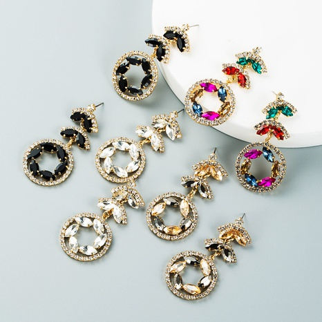 multi-layer color flower rhinestone pendant earrings wholesale nihaojewelry  NHLN421170's discount tags