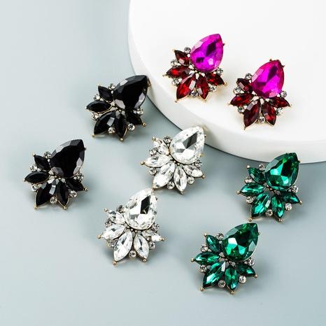 drop-shaped colored glass diamond pendant earrings wholesale nihaojewelry  NHLN421171's discount tags