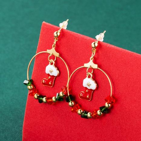 Christmas Tree Bell Socks Pendant Earrings Wholesale Nihaojewelry  NHLN421173's discount tags