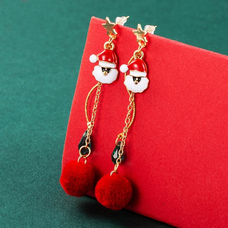Christmas tree Santa Claus plush ball pendant long tassel earrings wholesale nihaojewelry  NHLN421174's discount tags