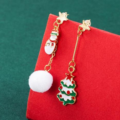 Santa Claus Christmas Tree Gift Box Pendant Asymmetric Earrings Wholesale Nihaojewelry  NHLN421175's discount tags