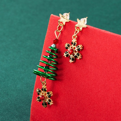 Christmas Ornament Snowflake Snowman Spiral Tree Earrings Wholesale Nihaojewelry  NHLN421176's discount tags