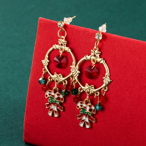 Christmas cane gift box pendant earrings wholesale nihaojewelry  NHLN421180's discount tags