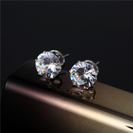 simple stainless steel crystal earrings wholesale Nihaojewelry NHAC421222's discount tags