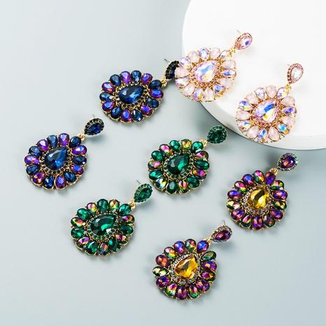 fashion color diamond drop-shapeded pendant earrings wholesale nihaojewelry  NHLN421562's discount tags