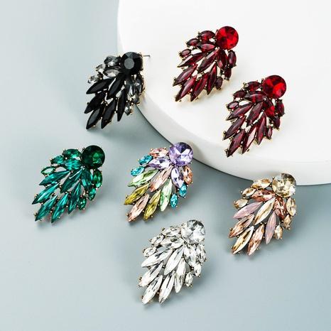 fashion color rhinestone leaf shape pendant earrings wholesale nihaojewelry  NHLN421564's discount tags