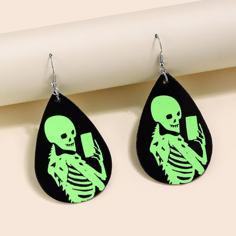 Halloween skull pumpkin witch funny leather luminous earrings wholesale Nihaojewelry  NHQIY421650's discount tags