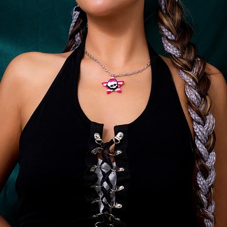 retro Halloween geometric stars stripes three-dimensional skull necklace wholesale nihaojewelry NHXR421660's discount tags
