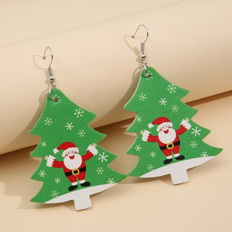 Santa Christmas Tree Leopard Double-sided Printed Leather Earrings Wholesale Nihaojewelry  NHQIY421664's discount tags